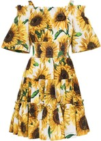 Dolce & Gabbana sunflower print off-the-shoulder dress
