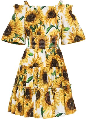 Dolce & Gabbana Sunflower Print Off-The-Shoulder Dress