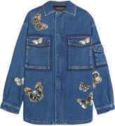 Valentino Butterfly-appliquéd Stretch-denim Jacket - Mid denim
