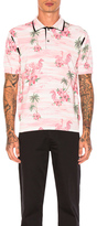 Junya Watanabe Thin Cotton & Wool Jersey Aloha Pattern Print Polo in Pink,Floral,Animal print.