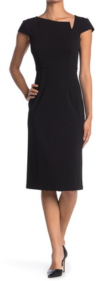 Donna Morgan Cap Sleeve Crepe Sheath Notch Dress
