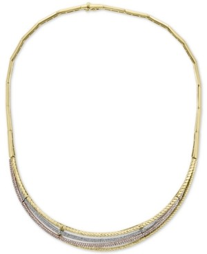 "Effy Diamond Tri-Color 16"" Statement Necklace (2 ct. t.w.) in 14k Gold, 14k White Gold and 14k Rose Gold"