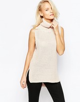 Brave Soul High Neck Chunky Ribbed Sleeveless Sweater