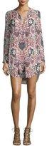 Haute Hippie Long-Sleeve Paisley Silk Mini Dress