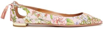 Aquazzura Forever Marilyn Cutout Floral-print Satin-twill Point-toe Flats