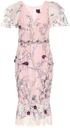 Marchesa Notte Embroidered tulle midi dress