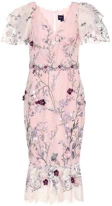 Marchesa Embroidered tulle midi dress