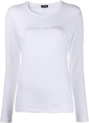 Emporio Armani rhinestone-embellished long-sleveed T-shirt