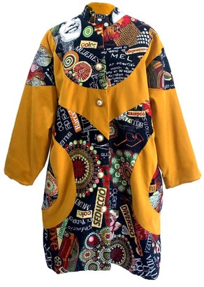 L2r The Label Oversized Shirt Coat In Mustard & Tapestry Patchwork