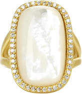 Freida Rothman Large Pave Framed Mother of Pearl Cabochon Cocktail Ring