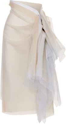 Maticevski Purified Ruffled Tulle Midi Skirt