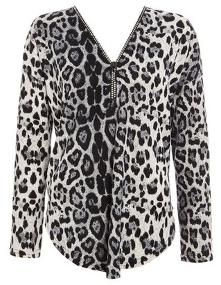 Dorothy Perkins Womens Quiz Grey Light Knit Leopard Print Zip Top, Grey