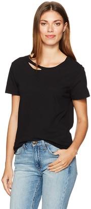 n:philanthropy Women's 'Harlow BFF TEE' Designer Basic Casual Short Sleeve Cutaway Crewneck Tee Shirt with Tie