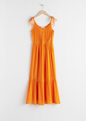 And other stories Ruffled Tie Shoulder Midi Dress