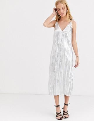 Asos silver crinkle slip dress