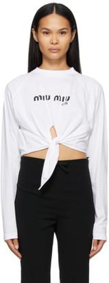 Miu Miu White Long Sleeve Logo T-Shirt
