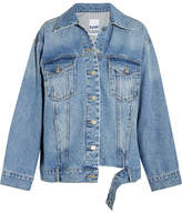 Sjyp Oversized Distressed Denim Jacket - Blue