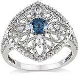 Ice 1/2 Carat Blue & White Diamond Ring in 10K White Gold