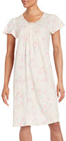 Miss Elaine Floral-Print Flutter-Sleeve Nightgown