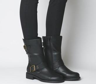 Office Kim Wf Flat Calf Biker Boots Black