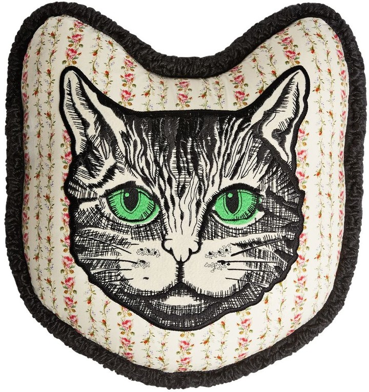 Gucci Mystic Cat Embroidered Pillow
