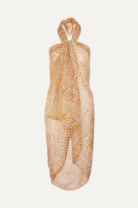 Cloe Cassandro - Zebra-print Silk-crepon Pareo - Mustard
