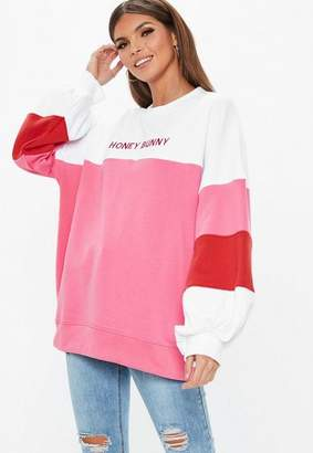 Missguided White Oversized Contrast Honey Bunny Embroidered Graphic Sweatshirt