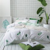 BuLuTu Peacock Feather Print Cotton Kids Bedding Cover Sets Full For Boys Girls Reversible Lovely Grid Queen Duvet Cover Sets White Hidden Zipper Closure With 4 Corner Ties (No Comforter)