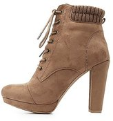 Charlotte Russe Knit-Trim Ankle Booties