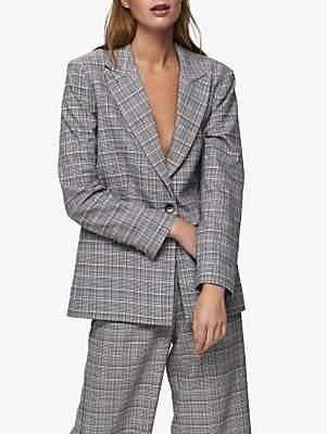 Selected Stella Check Blazer, Black/Multi