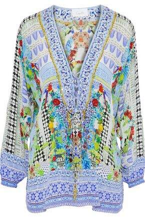 Camilla Day Dreamer Lace-Up Embellished Printed Silk Tunic