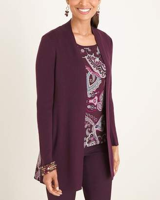 Chico's Chicos Printed Woven-Back Cardigan