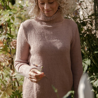 Bunti - The Womens Gigi Hand Knitted Wool & Organic Cotton Jumper in Blush - S/M | wool | Organic Cotton | pink - Pink/Pink