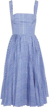 Lela Rose Pleated Gingham Shell Dress