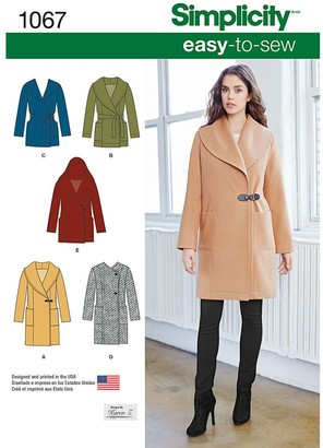 Simplicity Women's Easy To Sew Jackets Sewing Pattern, 1067