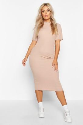 boohoo Plus Rib High Neck Bodycon Dress