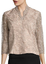 Alex Evenings Embroidered Illusion Blouse