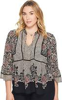 Lucky Brand Women's Plus Size Mixed Print Top