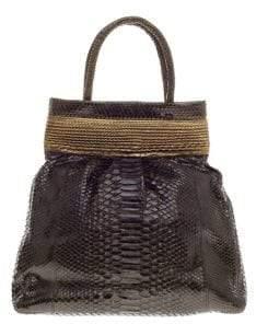 Nancy Gonzalez Vintage Top Handle Python Frame Handbag