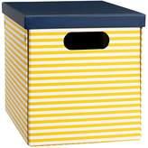 Pottery Barn Teen Striped Printed Storage Bins, Medium, Yellow Stripe/Navy Trim