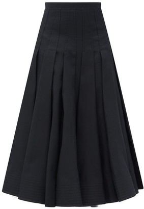 Valentino Pleated High-rise Wool-blend Midi Skirt - Black