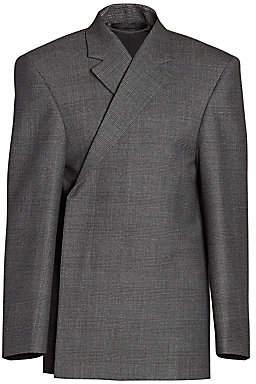 Balenciaga Men's Check Virgin Wool Structure Jacket