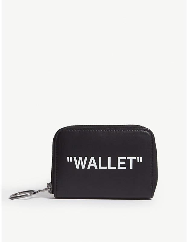 Off-White Slogan leather zip-around wallet
