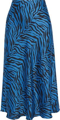 Rebecca Minkoff Davis Zebra-print Satin-twill Midi Skirt