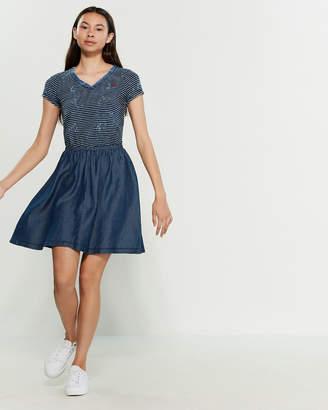 U.S. Polo Assn. Acid Wash Tee Chambray A-Line Dress