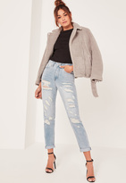 Missguided High Rise Destroyed Mom Jeans Blue