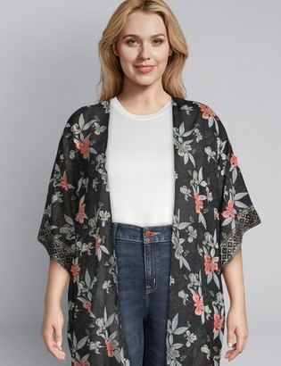 Lane Bryant Printed Duster Overpiece With Embroidery