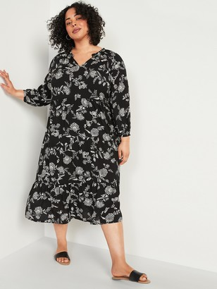 Old Navy Floral-Print Plus-Size Midi Swing Dress