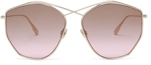 Christian Dior Diorstellaire4 Hexagonal Metal Sunglasses - Gold
