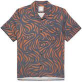 Wooyoungmi Camp-Collar Printed Stretch-Satin Shirt